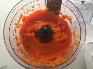 Mashed carrots in food processor - image