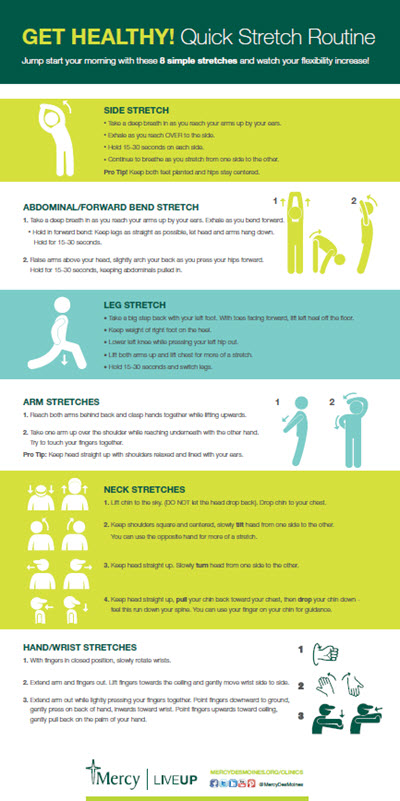 Quick stretch routine - infographic